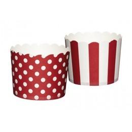 Cápsulas para Cupcakes Puntos y Rayas Rojas