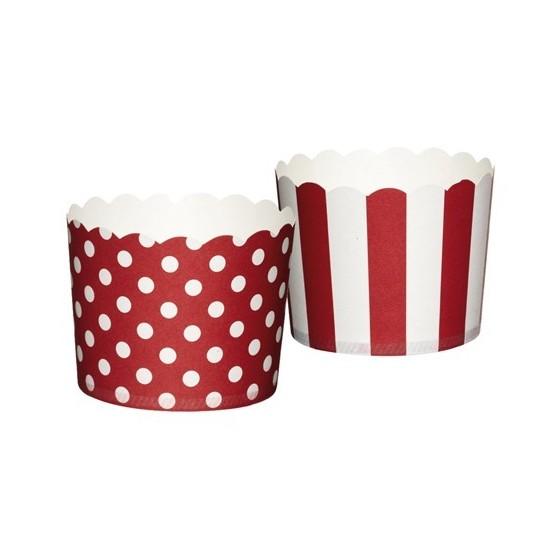cápsulas cupcakes rayas y puntos rojos
